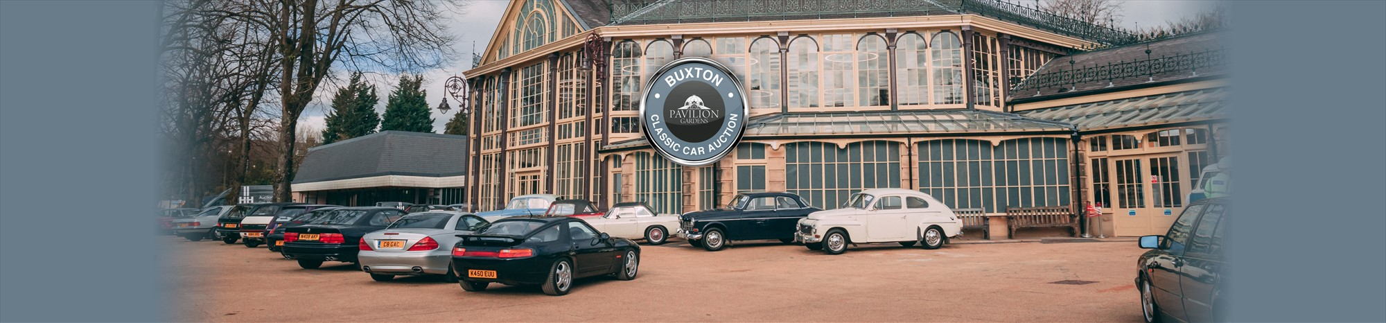 Classic Cars parked outside The Pavilion Gardens in Buxton