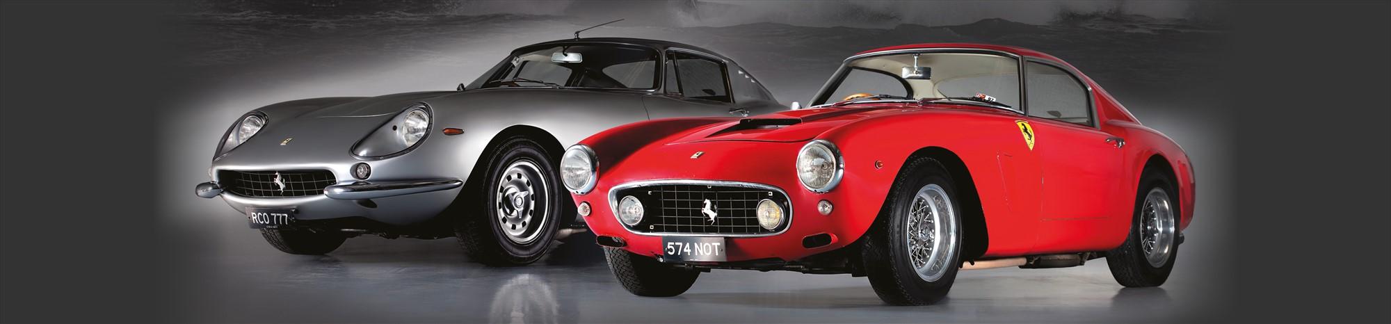 Classic Silver Ferrari and Classic Red Ferrari
