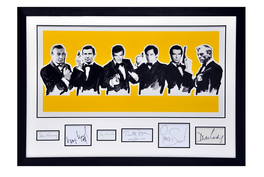 Montage of all the James Bond actors & their signatures for £800 to £1,200
