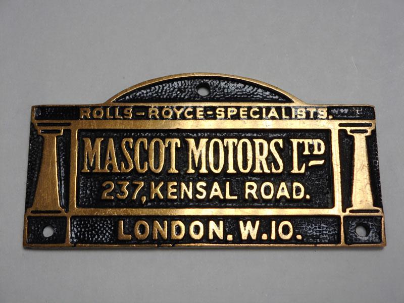 Lot 94-'Mascot Motors' Dashboard Suppliers Plaque