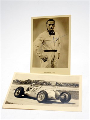 Lot 99-Two Signed Mercedes-Benz 'Silver Arrows' Publicity Postcards
