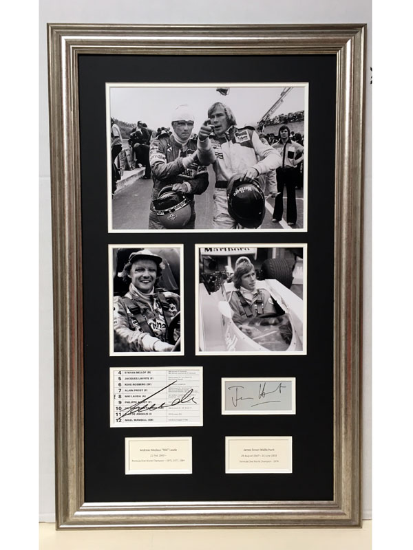 Lot 54-James Hunt & Niki Lauda 'Rivals' Autograph Presentation