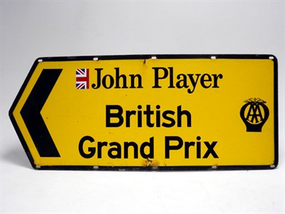 Lot 180-AA Enamel Road Sign from the 1976 British Grand Prix