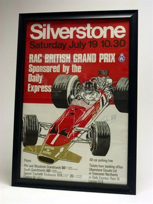 Lot 165-A Signed 1969 British GP Poster