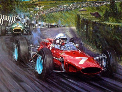 Lot 159-John Surtees, Ferrari 158, by Nicholas Watts (Multi-signed)