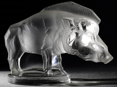 Lot 172-Pre-War Lalique 'Sanglier' Mascot