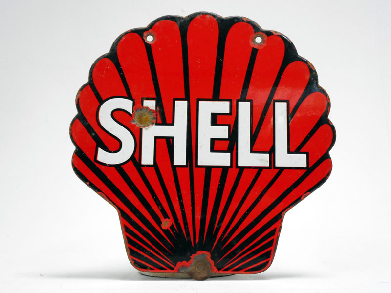 Lot 75-Shell Petroleum Clamshell Enamel Sign