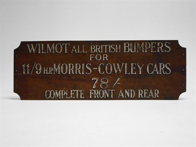 Lot 31 - 'Wilmot British Bumpers' Advertising Sign