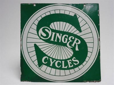 Lot 113-A Rare Singer Cycles Enamel Sign