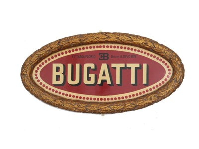 Lot 179-A Hand-Painted 'Bugatti at the Targa Florio' Commemorative Oval Plaque
