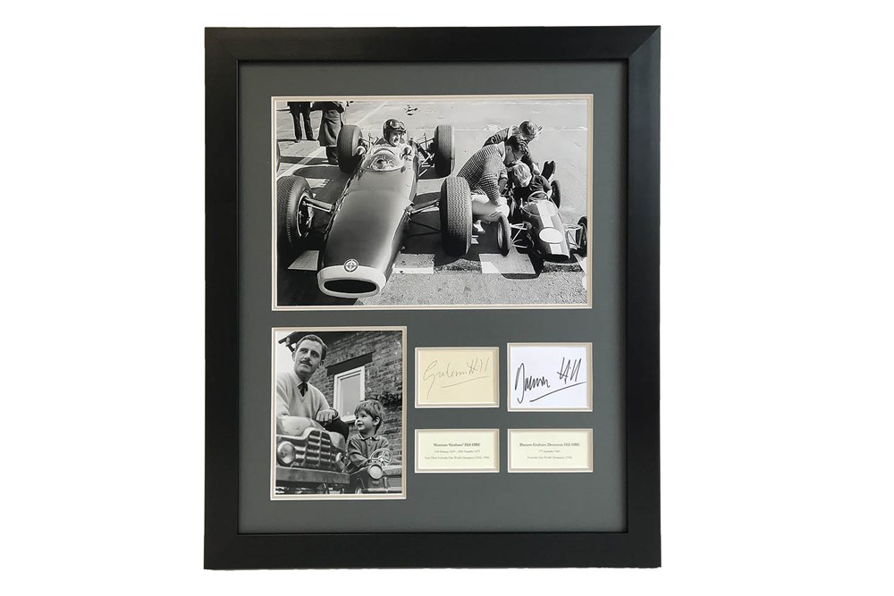 Lot 61-Graham Hill and Damon Hill 'Father & Son' Autograph Presentation