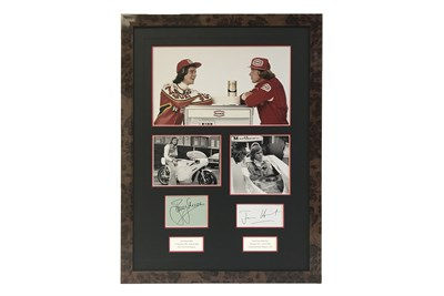 Lot 113-James Hunt & Barry Sheene Signed Presentation