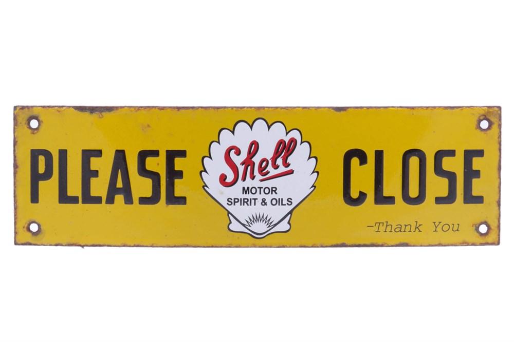 Lot 40 - A Shell 'Please Close' Enamel Sign