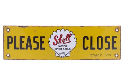 Lot 40-A Shell 'Please Close' Enamel Sign
