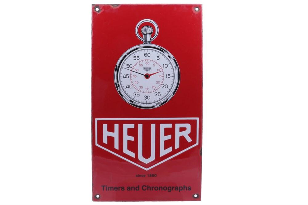 Lot 5-A Rare Heuer Enamel Sign