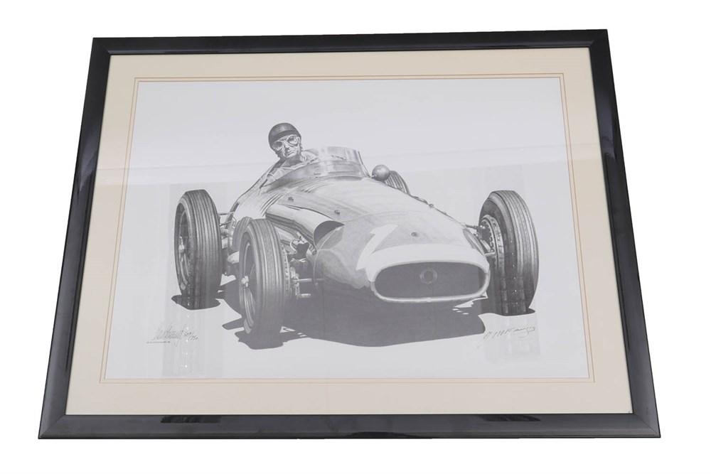 Lot 45-Juan Manuel Fangio 1955 Signed Print