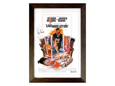 Lot 2 - Roger Moore as James Bond - Live and Let Die Movie Poster (Signed)