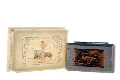Lot 77-A Cigarette Box Depicting an Early Motoring Scene in Relief