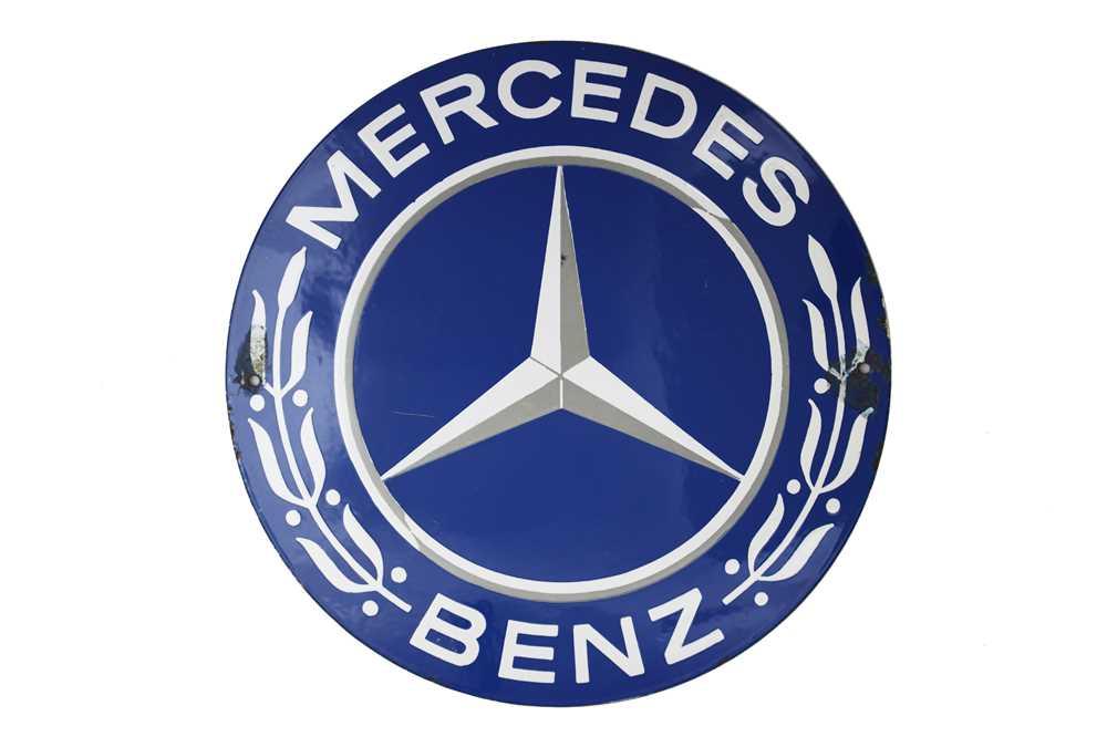 Lot 34-Mercedes-Benz – A Good Small Pre-War Dealer-Agent's Enamel Sign, c1930s