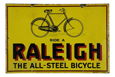 Lot 3-Ride A Raleigh - 'The All-Steel Bicycle' Enamel Sign