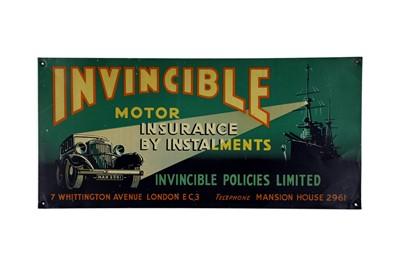 Lot 5-Invincible Motor Insurance Tin Advertising Sign