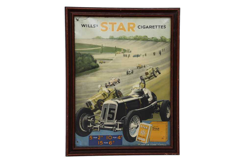 Lot 11-Wills's Star Cigarettes - ERA at Brooklands - Raymond Mays - Celluloid Advertising Sign