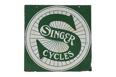 Lot 19-Singer Cycles Enamel Sign