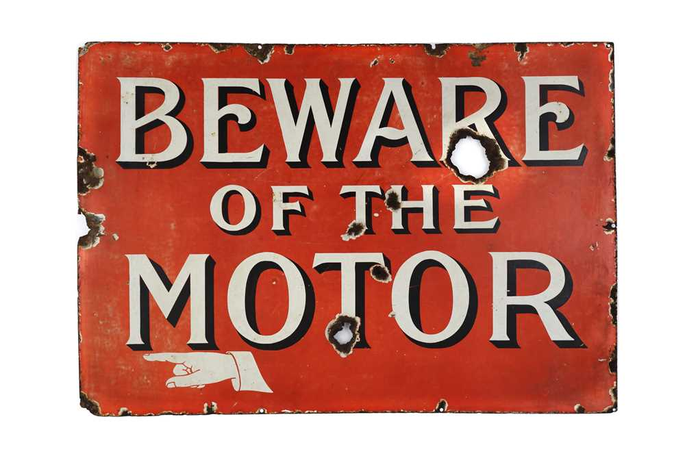 Lot 28-A Rare and Early 'Beware of The Motor' Enamel Sign