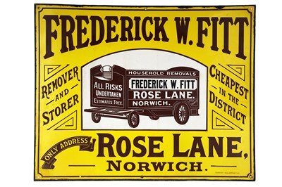 Lot 29 - Rare Frederick W. Fitt Remover and Storer Enamel Sign