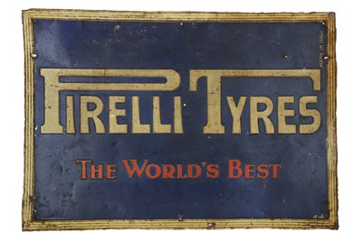 Lot 42-A Rare and Unusual Pressed Tin Pirelli Tyres Advertising Sign