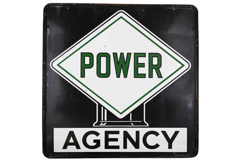 Lot 44-Power Petrol Agency Enamel Sign