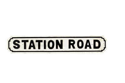 Lot 51-Original 'Station Road' Cast Iron Road Sign
