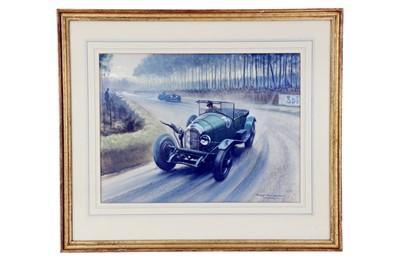 Lot 68-Roy Nockolds (1911-1980), 'Bentley at Le Mans 1927' Original Artwork