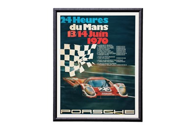 Lot 70-A Large and Rare Porsche Le Mans Victory Poster, 1970