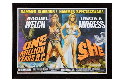 Lot 71-A Rare One Million Years B.C. / She (1966) British Quad Double Bill Film Poster
