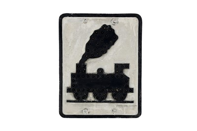 Lot 74-A Rare and Early 'Trains Crossing' Road Sign