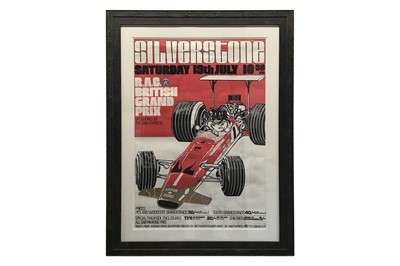 Lot 80-1969 British Grand Prix Advertising Poster – Signed by Graham Hill