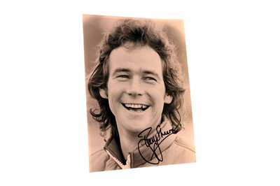 Lot 81-Barry Sheene Signed Period Press Photograph