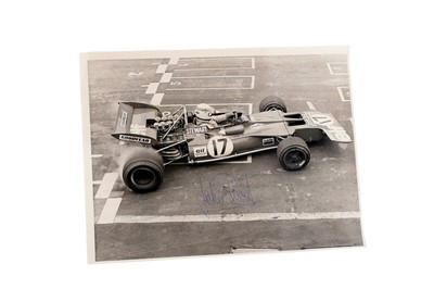 Lot 90-Jackie Stewart Signed Period Publicity Photograph