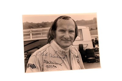 Lot 94-Mike Hailwood Signed Period Photograph – Captured by Peter Tempest