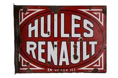 Lot 31-Huiles Renault Enamel Sign