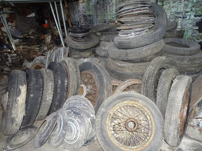 Lot 105-A Large Quantity of Rolls-Royce Wheels, Tyres, Hubcaps and Spare Wheel Covers