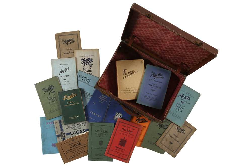 Lot 44 - A Small Vintage  Suitcase Containing Pre-War Motorcar Handbooks