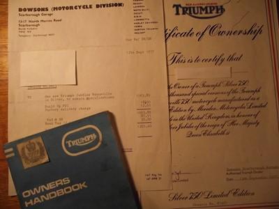 "Lot 23-1977 Triumph Bonneville 750 ""Silver Jubilee"""