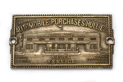 Lot 152 - A Rare Pre-War Dashboard Supplier's Plaque for Automobile Purchases (Hull) Ltd