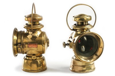 Lot 161 - Two 'Lucas King of the Road' Brass Sidelamps