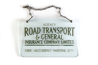 Lot 164 - Road Transport & General Insurance Co. Glass Advertising Sign
