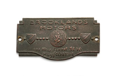 Lot 172 - A Rare Pre-War 'Brooklands Motors' Dashboard Plaque