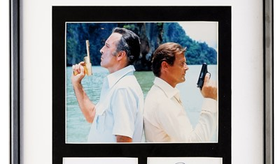 Lot 75 - Roger Moore and Christopher Lee - James Bond - 'The Man with the Golden Gun' Autograph Presentation