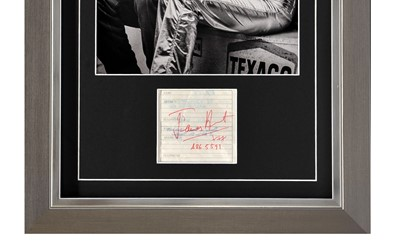 Lot 88 - James Hunt  - An Unrepeatable Framed / Glazed Display Containing Hunt's Signature and Phone Number